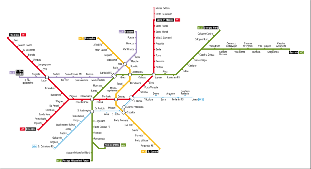 metropolitana di Milano - mappa
